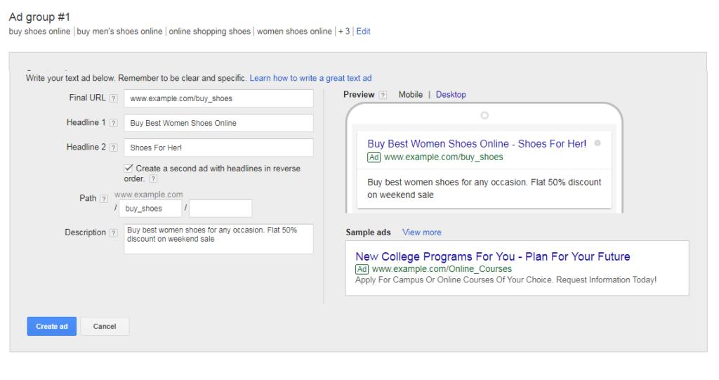 google adwords help ad creation screenshot