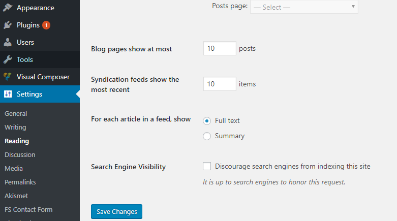 Wordpress SEO Reading Settings Screenshot